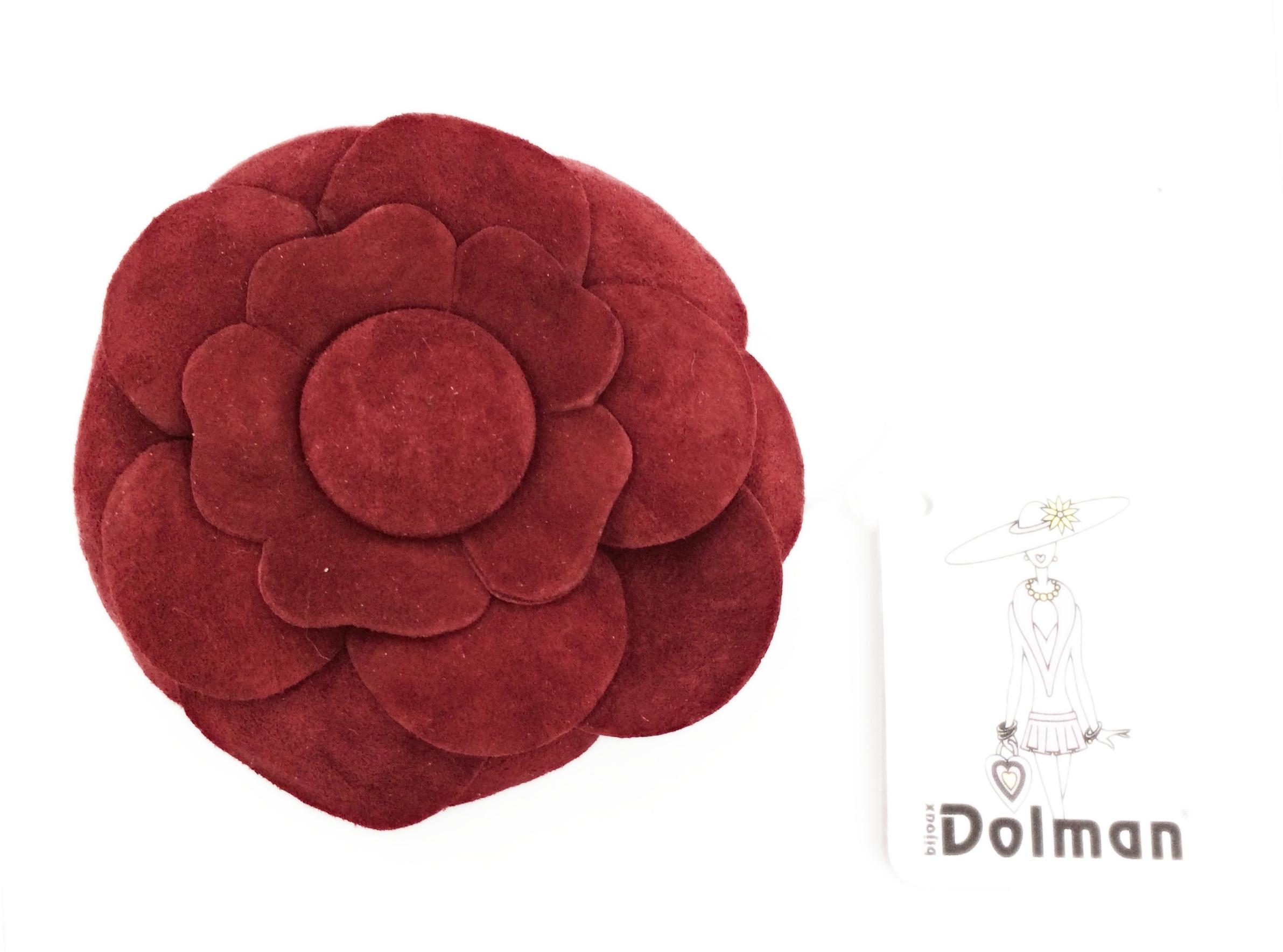 Spilla dorata con margherita in velluto rosso art. B000268