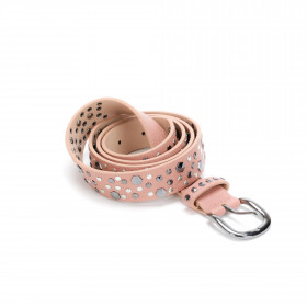 Cinta in simil pelle rosa con borchie