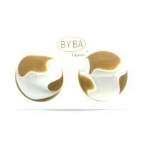 orecchino a clip effetto marmorizzato bianco e beige art. 460644D